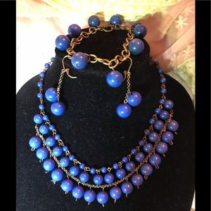 Jewelry - Peacock blue necklace, earrings, and bracelet set